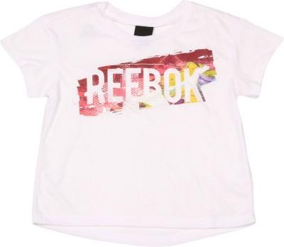 REEBOK Girls Printed Polyster T Shirt(White, Pack of 1)