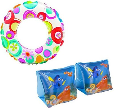 KONEX Combo Of Swimming Tube & Swim Full Arm Bands for Kids and Children. Swimming Kit