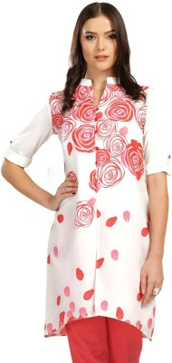Anouk Printed Women A-line Kurta(White, Red)