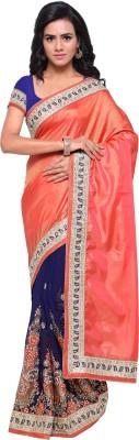 Sanku Fashion Embroidered, Self Design, Solid Fashion Georgette, Pure Silk, Velvet, Net Saree(Orange, Dark Blue)