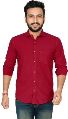 High Hill Men Solid Casual Button Down Shirt