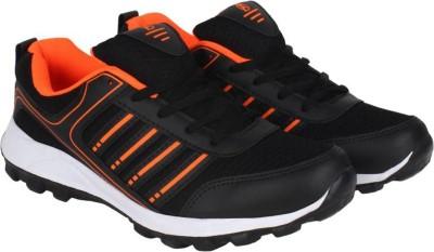Aero Power Play Running Shoes For Men(Black, Orange)  available at flipkart for Rs.499