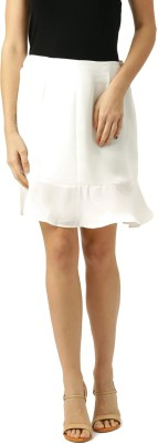 Comix Solid Women A-line White, Gold Skirt
