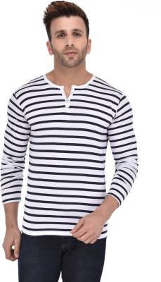 BigIdea Striped Men's Henley White, Blue T-Shirt