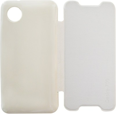 COVERNEW Flip Cover for HTC Desire 700 dual sim(White, Artificial Leather, Plastic)