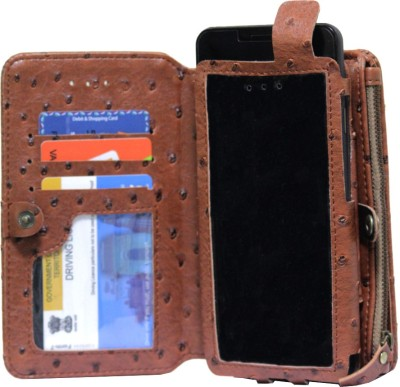 JoJo Pouch for Lava Iris 360 Music(Brown, Artificial Leather)