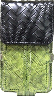 JoJo Pouch for Micromax Ninja A89(Green, Black, Holster)