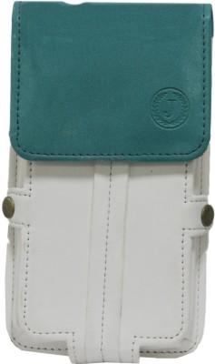 JoJo Pouch for LG Optimus L5 II Dual E455(White Light Blue, Artificial Leather)