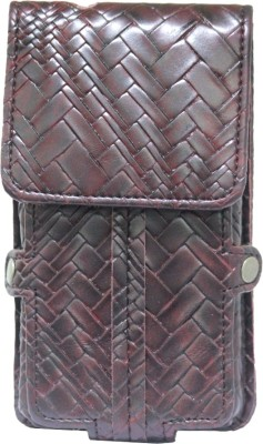 JoJo Pouch for Micromax A63 Canvas Fun(Wine Red, Artificial Leather)