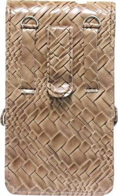 JoJo Pouch for Lava Iris 360 Music(Tan, Artificial Leather)
