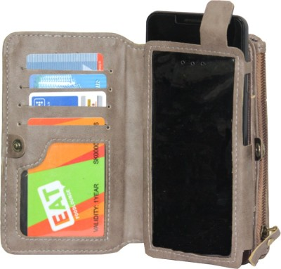 JoJo Pouch for Samsung Galaxy Trend II Duos S7572(Light Grey, Artificial Leather)
