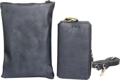 JoJo Pouch for Lava Iris 360 Music(Dark Blue, Artificial Leather)