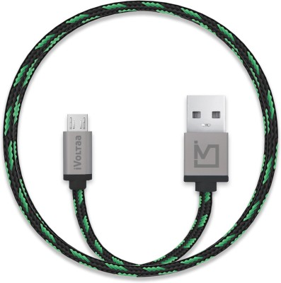 iVoltaa Pixie Braided 2.4A Micro USB Cable(Compatible with All Smartphones, Tablets and MP3 player, Green, Black, Sync and Charge Cable) at flipkart