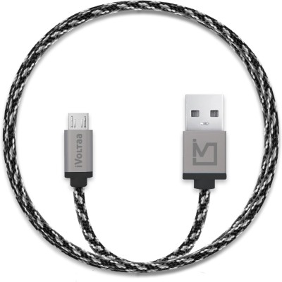iVoltaa Pixie Braided 2.4A Micro USB Cable(Compatible with All Phones With Micro USB Port, Grey, Sync and Charge Cable) at flipkart