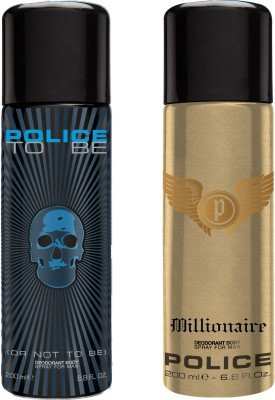 Police To be Millionaire Deodorant Spray  -  For Men(400 ml, Pack of 2)