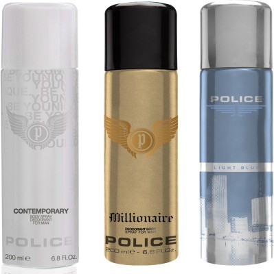 Police Millionaire Contemporary Light Blue Deodorant Spray  -  For Men(600 ml, Pack of 3)