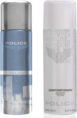 Police Light Blue Contemporary Deodorant Spray  -  For Men(400 ml, Pack of 2)
