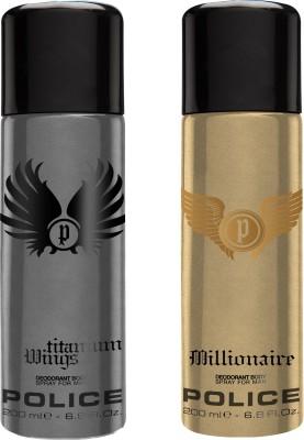 Police Titanium Millionaire Deodorant Spray  -  For Men(400 ml, Pack of 2)