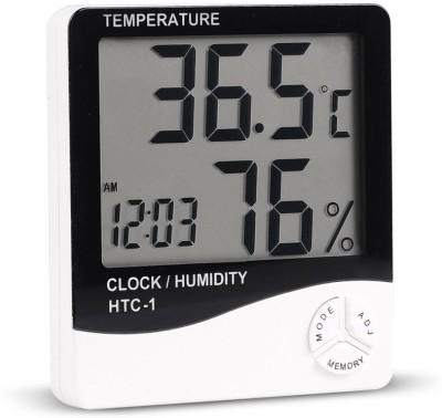 BalRama HTC1 Hygrometer Humidity Meter with Temp and Clock Display Digital Thermometer(White, Black)