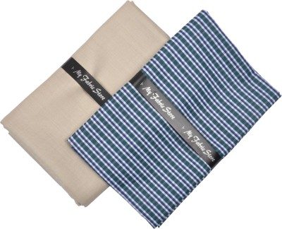My Fabric Store Cotton Polyester Blend Checkered Shirt & Trouser Fabric(Un-stitched)