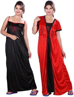 TRUNDZ Women Nighty(Black, Red)