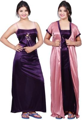 TRUNDZ Women Nighty with Robe(Purple, Pink)