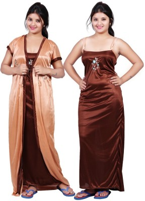 TRUNDZ Women Nighty with Robe(Brown)