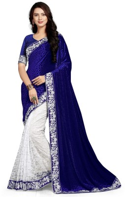 googlee Self Design, Applique, Embroidered Bollywood Velvet, Net Saree(Dark Blue, White)  available at flipkart for Rs.499