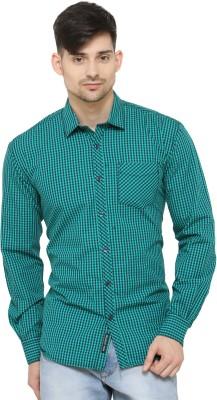 La Seven Men's Checkered Casual Green Shirt
