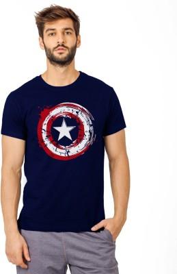 SmartRAHO Printed Men Round Neck Dark Blue T Shirt