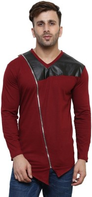 Try This Color block Men V-Neck Maroon, Black T-Shirt
