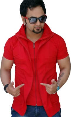 Black Collection Solid Men Turtle Neck Red T-Shirt