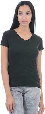 Pepe Jeans Solid Women V-neck Black T-Shirt  available at flipkart for Rs.299