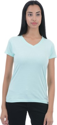 Pepe Jeans Solid Women V-neck Blue T-Shirt  available at flipkart for Rs.299