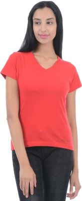 Pepe Jeans Solid Women V-neck Red T-Shirt  available at flipkart for Rs.299