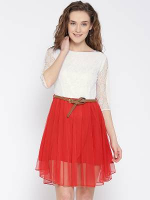 U&F Women's Fit and Flare White, Red Dress