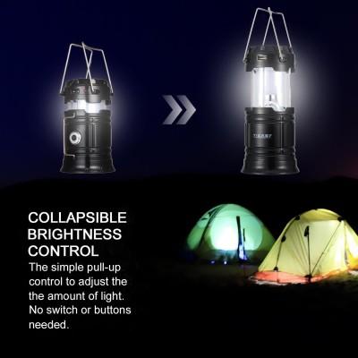 Wonder World™ Led Camping Lantern, Rechargeable Solar Lanterns Collapsible,(Black)