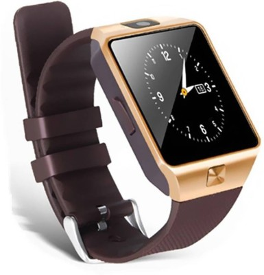 Any Time Buy DZ09 Bluetooth, Sim, Memory Card Slot, Camera Fitness Tracker Black Smartwatch(Brown Strap Free Size) at flipkart