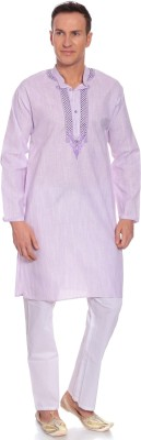 Kalaa Men Embroidered Straight Kurta(Purple) at flipkart