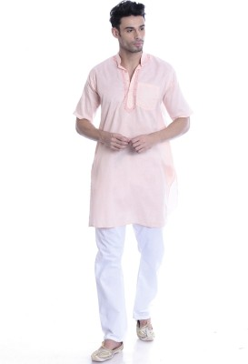 Kalaa Men Colorblock Straight Kurta(Pink) at flipkart