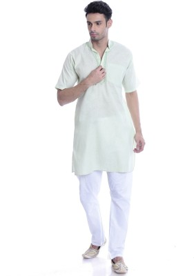 Kalaa Men Colorblock Straight Kurta(Green) at flipkart