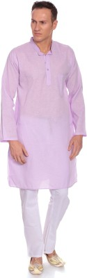 Kalaa Men Self Design Straight Kurta(Pink) at flipkart