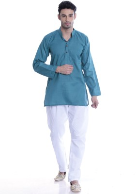 Kalaa Men Colorblock Straight Kurta(Blue) at flipkart