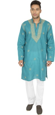 Kalaa Men Embroidered Straight Kurta(White) at flipkart