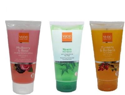 VLCC COMBO PACK OF NEEM , MULBERRY_ROSE, TURMERIC_BERBERIS Face Wash(150 ml)