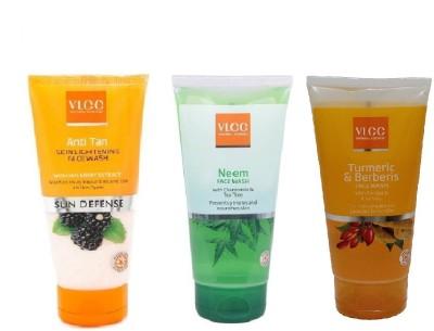 VLCC COMBO PACK OF NEEM, ANTI-TAN, TURMERIC_BERBERIS Face Wash(150 ml)