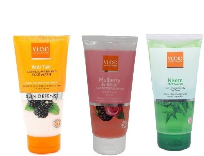 VLCC COMBO PACK OF ANTI-TAN , MULBERRY-ROSE , NEEM Face Wash(150 ml)