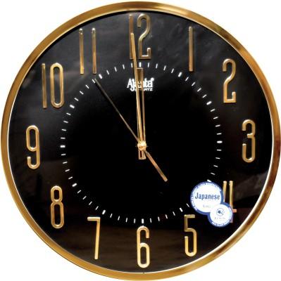 Ajanta Analog 22 cm X 22 cm Wall Clock(Gold, With Glass)