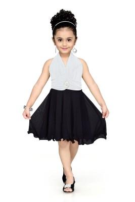 Aarika Girls Midi/Knee Length Party Dress(White, Sleeveless) at flipkart