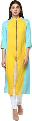 Janasya Formal Solid Women Kurti(Yellow)